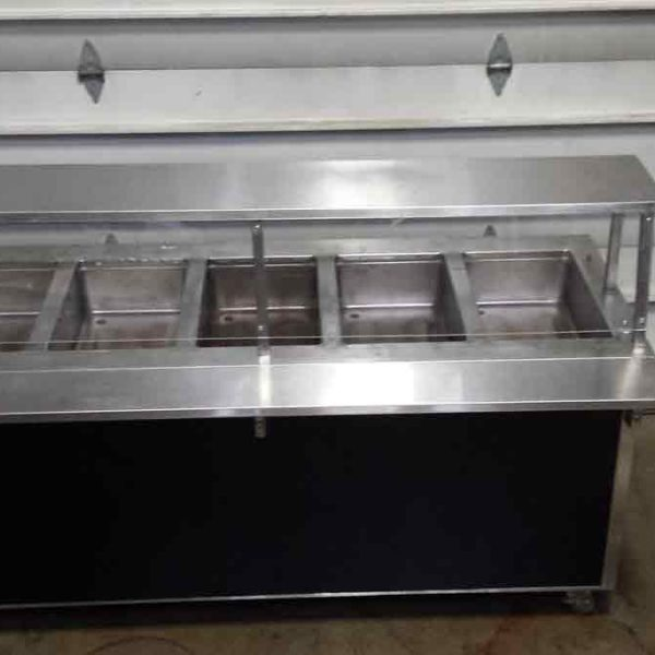 5 well steam table with cafeteria style breath guard
