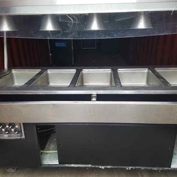 5 well steam table with canopy style breath guard